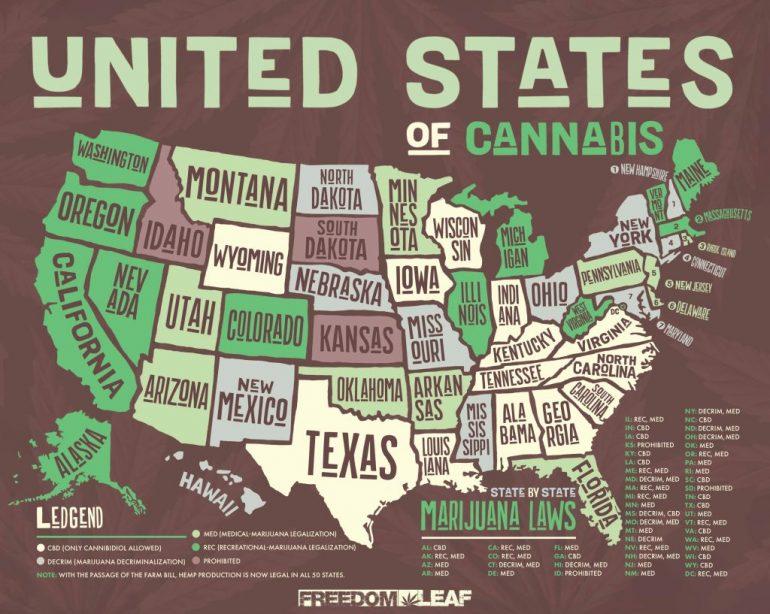 EEUU, La guía estatal por estado del MPP para la legislación sobre marihuana en 2019